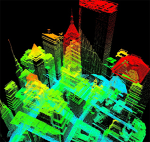 LiDAR data visualization showing how points are used to build a 3D model of New York city