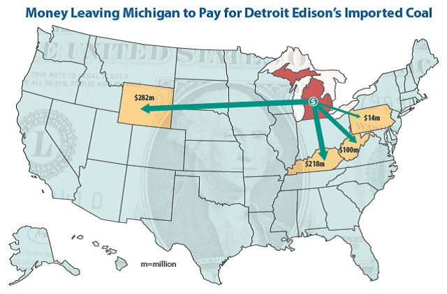 Map of Money Leaving Michigan to Pay for Detroit Edison's Imported Coal