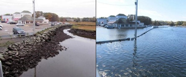 The Bratskellar Restaurant near Portsmouth in New Hampshire during the highest tide of the year in 2011. Low tide on the left, high tide on the right. Source: Jim Lee, New Hampshire/Maine Realtors