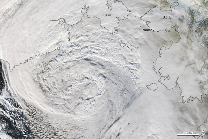 Superstorm Nuri in the Bering Sea. Image: NASA