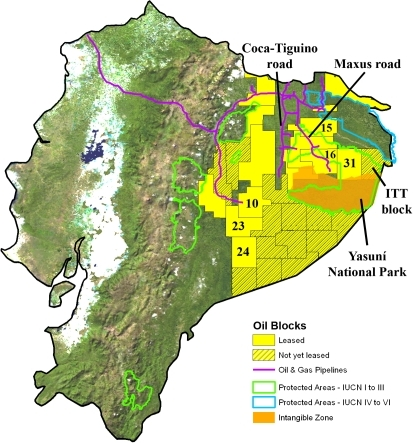 Oil blocks in Ecuador's Amazon. Image: Openl, PubMed Central http://openi.nlm.nih.gov/faq.php#copyright