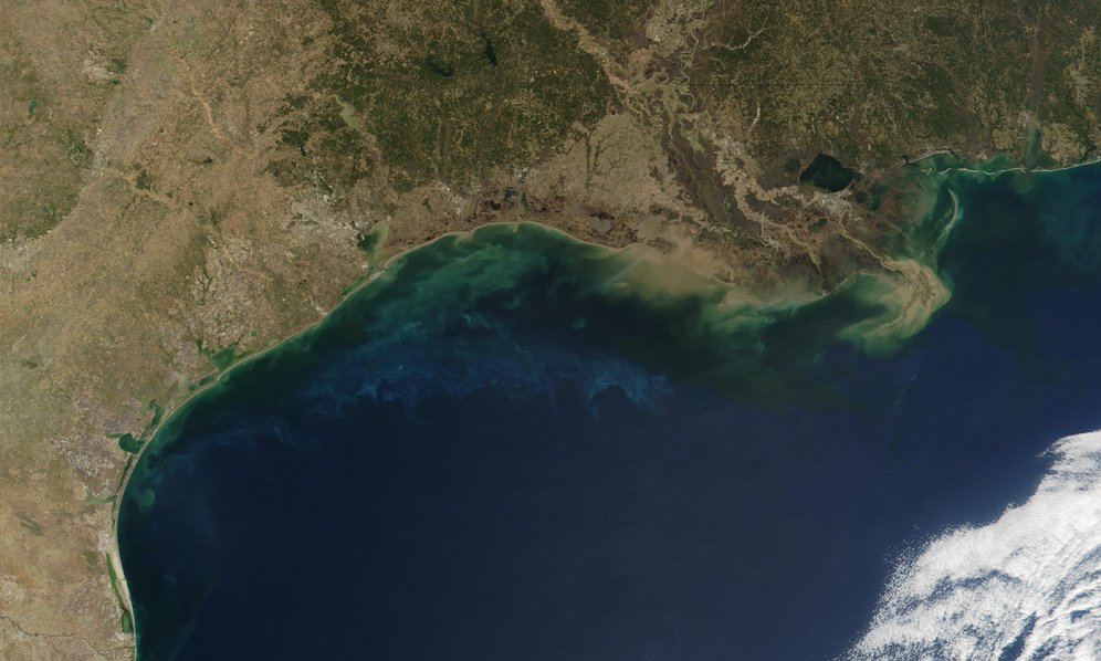 Satellite view of Gulf of Mexico