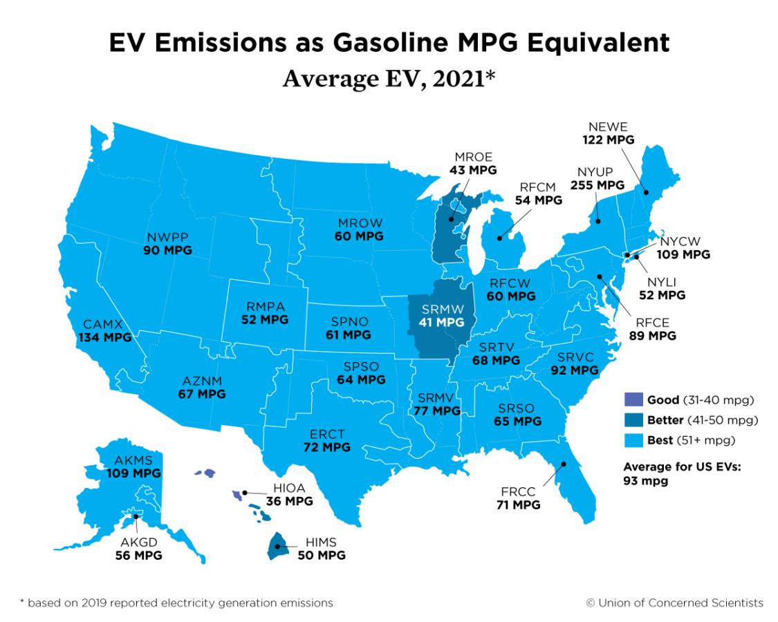 US Map showing regional average EV emissions as goasline MPG equivalent