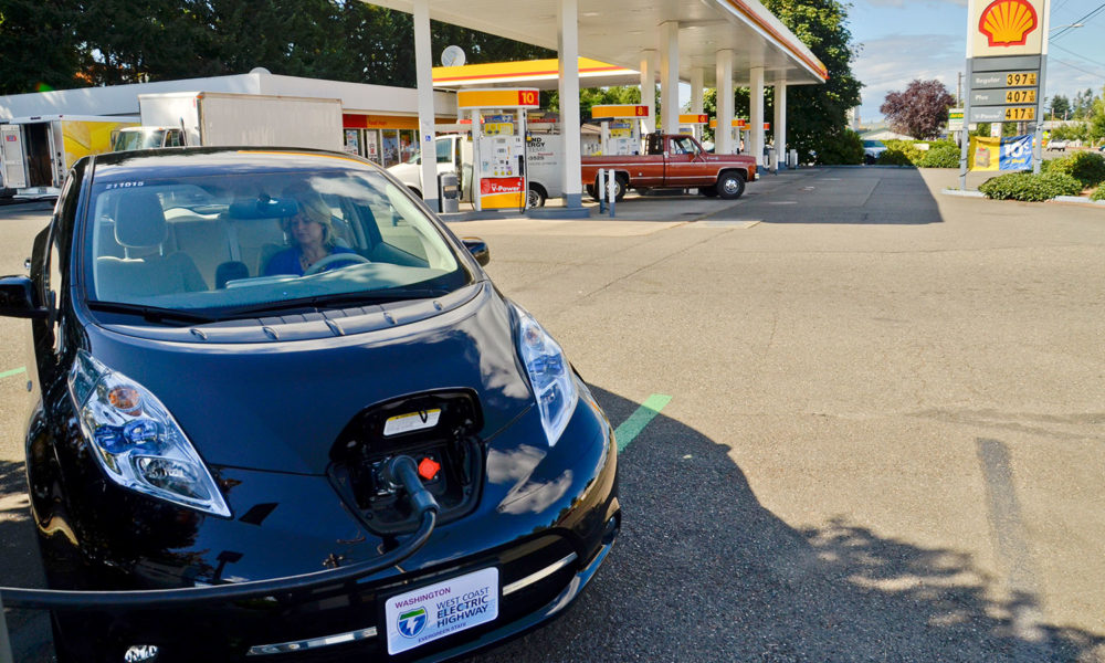 Nissan LEAF charging at Shell Station on West Coast Electric Highway
