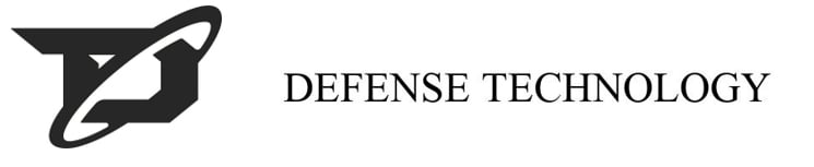 Two trademark images. On the left is the Defense Technology D, which is a blocky letter with a arm on the top left pointing out back with an angle up to the left. There is a circle/oval around the letter from the top right to the bottom left, kind of like Saturn's rings. It's all black on white background. On the right is the phrase Defense Technology written in standard type. Black on white.