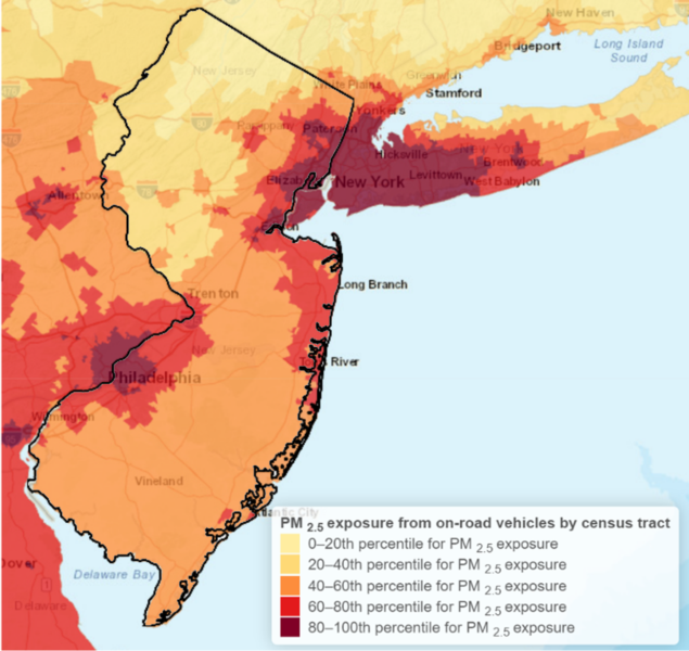 map showing hotspots of PM2.5 pollution from on-road vehicles in NJ